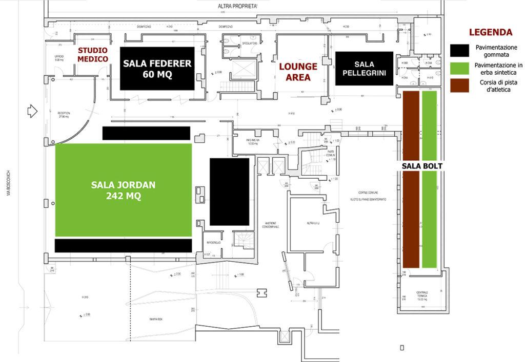 Mappa del centro atletico